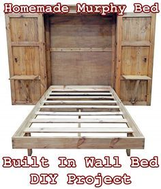 Bed room Homemade Murphy Bed Built In Wall Bed DIY Project - Homesteading - Tiny House Furniture Car Build A Murphy Bed, Murphy Bed Desk, Murphy Bed Plans, Murphy Bed Frame, Tiny House Furniture, Home Furniture, Furniture Ideas, Bedroom Furniture, Diy Bedroom