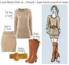 look bobo chic chaud pull laine jupe tricot bottes camel oliviamode