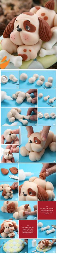 I would like to do this idea in clay .DIY Cute Dog Fondant Cake Topper - Step-by-Step Tutorial Fondant Toppers, Fondant Dog, Fondant Animals, Fondant Cakes, Cupcake Cakes, Cupcakes, Fondant Recipes, Buttercream Fondant, Frosting