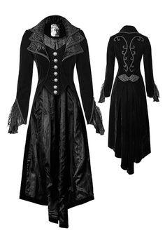 Long manteau noir femme en velours avec broderies gothique élégant Punk Rave b1f2af25ed2b