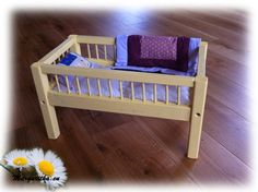 Large wooden handmade baby doll bed Yellow with by margaritkadolls