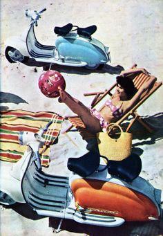 1960's Lambretta publicity photo on a beach!