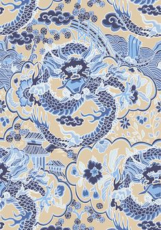 IMPERIAL DRAGON, Blue and Tan, T14236, Collection Imperial Garden from Thibaut