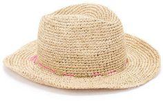 Accessorize Chapeau de cowboy au crochet en paille fine avec liseré fluo sur shopstyle.fr