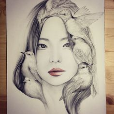 Seoul, Korea based artist okArt has created this collection of beautiful portrait illustrations, she has named the project 'The Girl and the Birds'.
