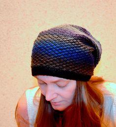 Black knitted hat Womens mens Hat  Slouchy Beanie by HandMadeLana