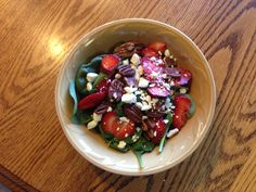 Spinach, strawberries, feta and pecan salad. Perfecto!