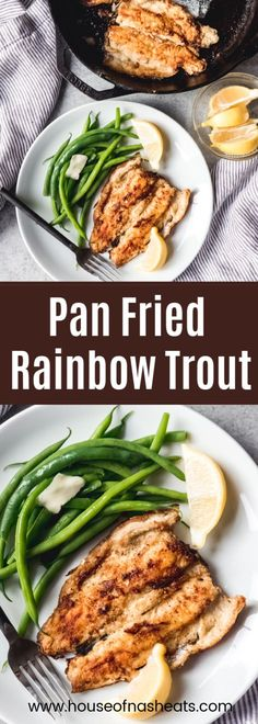 This Pan Fried Trout recipe makes a delicious dinner of fresh caught rainbow trout, lightly dredged in flour then seared in a hot skillet with butter Rainbow Trout Recipes, Rainbow Trout Recipe Pan Fried, Cooking Rainbow Trout, Sea Trout Recipes, Pan Fry Trout Recipe, Best Trout Recipe, Seafood Dishes, Seafood Recipes, Pan Fried Trout