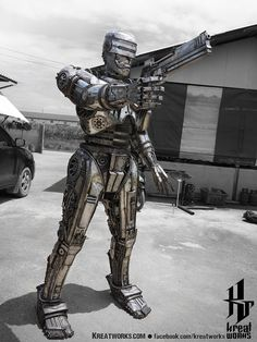 robocop - Gorgeous Recycled Metal Art Made By Talented Thai Craftsmen