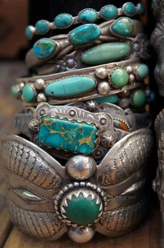 Turquoise bracelets by Greg Thorne.