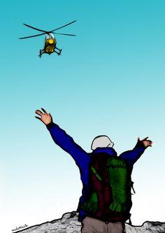 """El cantal de la Berenjena. """"...___¡Juan Cañas! ___¡Brruzzz, Brruzzz___ ¡Atención, Juan Cañas! Te habla el Capitán Tendero de la unidad de rescate en montaña ___Brruzzz___ tu padre nos ha indicado tu posición ___Brruzzz___ tranquilo que vamos a bajar para proceder al rescate. """""""