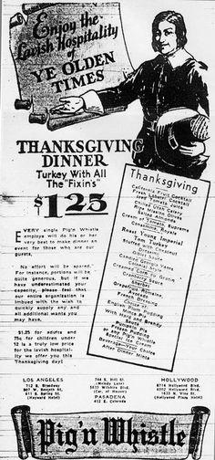 Pig'n Whistle 1931 Thanksgiving Menu Newspaper Ad