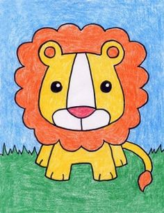 Baby Lion Basic Drawing For Kids, Drawing Pictures For Kids, Drawing Lessons For Kids, Easy Drawings For Kids, Art Lessons, Lion Drawing Simple, Lion Cartoon Drawing, Cartoon Lion, Baby Drawing