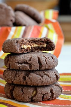 Chocolate Peanut Butter Surprise Cookies. Great Christmas cookie!