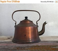 ON SALE Farmhouse Copper Tea Kettle Vintage by HoneyBeeHillVintage