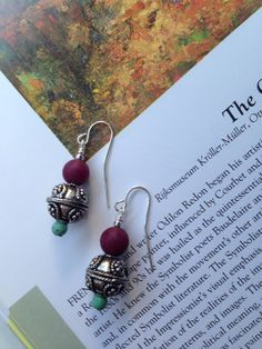 Turquoise and Mulberry Moroccan Dangle Earrings  on Etsy, $14.99