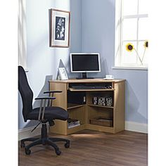@Overstock - Simple Living Oxford Corner Desk - Maximize your office or dorm space with an Oxford corner deskComputer workstation features a sturdy composite board construction with melamine finishOffice furniture features utility drawer and four shelves  http://www.overstock.com/Home-Garden/Simple-Living-Oxford-Corner-Desk/3418120/product.html?CID=214117 $141.99