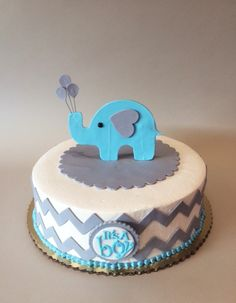 Baby Shower Cake with Chevron and Elephant Topper | www.realbuttercream.com