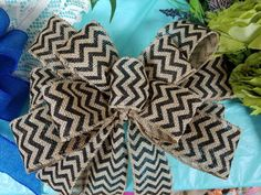Check out this item in my Etsy shop https://www.etsy.com/listing/458319064/black-burlap-bow-black-chevron-blue