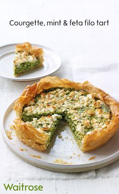 Courgette, mint and feta filo tart Mint Recipes, Vegetable Recipes, Healthy Recipes, Summer Vegetarian Recipes, Fun Cooking, Cooking Recipes, Cooking Humor, Baby Cooking, Cooking Videos