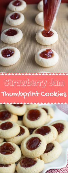 Strawberry Jam Thumbprint Cookies are so fun to make! It's a super simple recipe, and you can fill it with whatever you like. I'd recommend keeping this one in your back pocket! Jelly Cookies, Jam Cookies, Filled Cookies, Chip Cookies, Köstliche Desserts, Delicious Desserts, Dessert Recipes, Plated Desserts, Noel Christmas