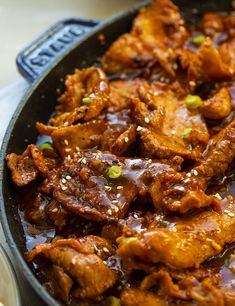 Pork is marinated and chilled with a traditional red chili paste and other spices before cooking for this tasty Korean BBQ Pork recipe. Korean Bbq Recipe, Korean Food, Korean Beef, Korean Dishes, Chinese Food, Pork Recipes, Asian Recipes, Ethnic Recipes, Bulgogi Recipe