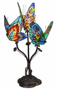 Butterfly Accent Tiffany Glass Table Night Lamp