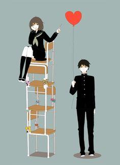 Fragile heart (it isn't a translation). (風船 by おどり on pixiv). Manga Art, Manga Anime, Anime Art, Satoshi Kon, Boy Character, Manga Love, Manga Illustration, Couple Art, Moving Pictures