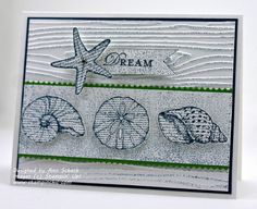 By the Seashore-Stamp Sets: By the Seashore, Loving Thoughts, Texture Jumbo Stampin' Around Wheel (retired); Inks: Midnight Muse; Card Stock: Whisper White , Gumball Green, Midnight Muse ; Tools: Big Shot, Finishing Touches Edgelits  Textured Impressions Embossing Folder; Glitz and Glam: Basic Rhinestones