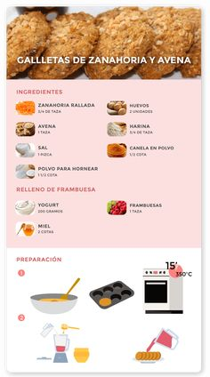 Ricas galletas de avena y zanahoria - Opulix, Healthy Deserts, Healthy Sweets, Healthy Snacks, Healthy Recipes, Baby Food Recipes, Cooking Recipes, Steak Recipes, Shrimp Recipes, Fish Recipes