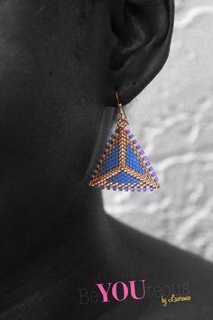 Blue Purple & Gold Geometric Handmade Beaded by BeYOUteous on Etsy