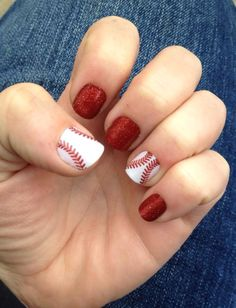 Baseball Jamberry Nails! Love this combo!
