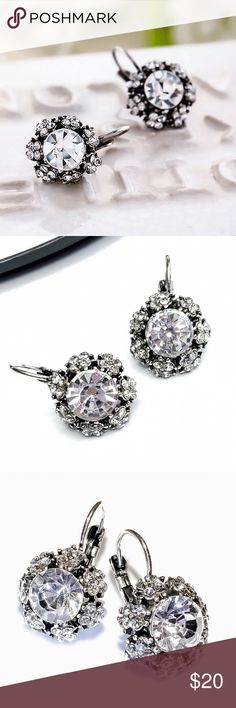 e307fbcca Antiqued Silver Austrian Crystal Earrings Antiqued Silver Austrian Crystal  Earrings: large Austrian crystal surrounded by