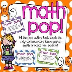 Active Task Cards for Common Core Kindergarten Kindergarten Math Activities, Fun Math, Teaching Math, Maths, Teaching Ideas, Preschool, Daily Math, Math Classroom, Classroom Ideas