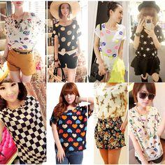 3$ 2015 Product - Women Ladies Chiffon Blouses T Shirts Tops Loose Short Sleeve T-shirts Blouses Striped Heart Lip Free shipping & Drop shipping