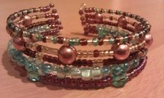 Seaside Rhapsody- Blue and Brown Beaded Memory Wire Cuff