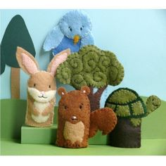 Forest Friends 2 Felt Finger Puppet Set by stayawake on Etsy