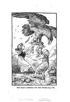 """The eagle carrying off the dwarf."" #illustration #children H.J. Ford and G.P. Jacomb Hood for Little Red Riding-Hood and Other Stories Based on the Tales in the ""Blue fairy book"",  by Andrew Lang."