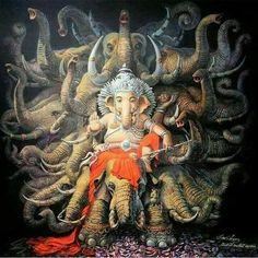 Get ready for Ganesh Chaturthi with these legends about the most auspicious Hindu god. Arte Ganesha, Arte Krishna, Jai Ganesh, Lord Ganesha, Lord Shiva, Shree Ganesh, Indian Gods, Indian Art, Om Gam Ganapataye Namaha