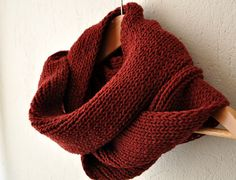 Christmas Gift - Burgundy Loop Cowl Scarf  Infinity Knit Scarf Double by zuzusworld