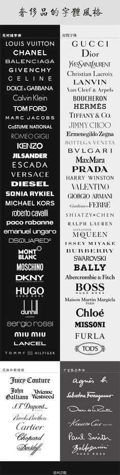 Typography :: Designer Brands and Couture Fashion Type Fashion Logo Design, Fashion Brand Logos, Fashion Fonts, Fashion Typography, Fashion Branding, Marc Jacobs Designer, Marc Jacobs Logo, Brand Fonts, Versace Logo