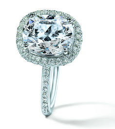 Cushion cut center and diamond halo engagement ring-R448802 #diamond #halo #engaged #gold #jewelry #NYJChicago