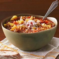 Best Lasagna Soup Recipe -All the traditional flavors of lasagna come together in this heartwarming meal-in-a-bowl. —Sheryl Olenick, Demarest, New Jersey