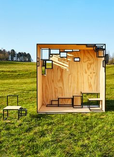 The JOINTED CUBE is a steel framed outdoor, pavilion-like installation that is based on Filip Janssens' smaller scale, cube-like furniture.
