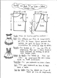Ideas Sewing Dress Patterns For Women Patrones Baby Girl Dress Patterns, Baby Clothes Patterns, Kids Patterns, Dress Sewing Patterns, Clothing Patterns, Embroidery Patterns, Sewing For Kids, Baby Sewing, Baby Dress Tutorials