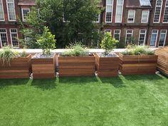 Chelsea roof terrace, hardwood planters, cedar screening and artificial grass #searwhittaker