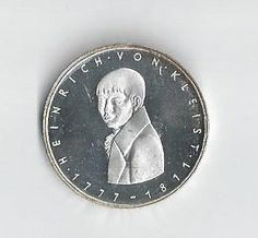 1977G Birth of Heinriich Von Kleist Proof 5 mark Silver Coin by COLLECTORSCENTER on Etsy