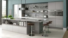 Gloss Kitchen in Grey. Gloss handleless kitchen shown in Grey but also available in a range of colours - see http://www.mackintoshkitchens.co.uk/kitchens?category%5B%5D=modern&finish%5B%5D=Gloss&style%5B%5D=Integrated+Handle for more options.
