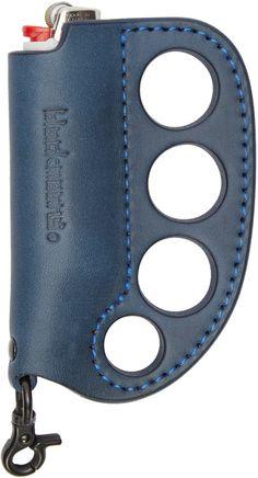 Blackmeans Navy Leather Lighter Holder Ring Keychain