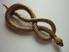 Vintage Signed JJ Antique Gold pewter Coiled Snake by JoJosJJs
